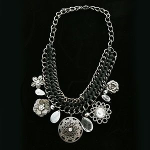 Crystal Flower Necklace Gunmetal & Black NWOT
